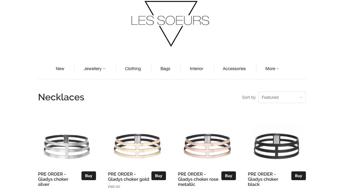 Webwinkel van Les Soeurs